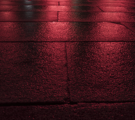 red wet paving blocks