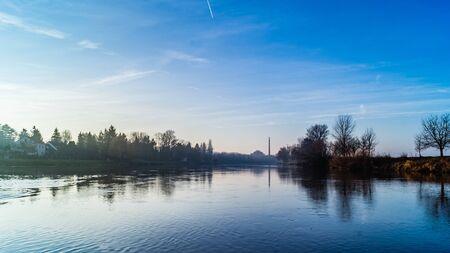 Labe Elbe river in Karany town, Czechia Stock Photo