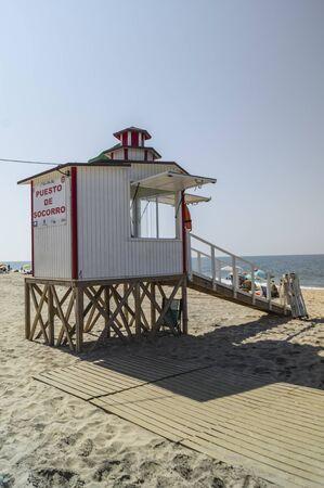 Lifeguard house on a sandy beach on a Spanish beach