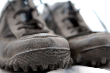 Football Cleats up close on white Stock Photo - 1528185