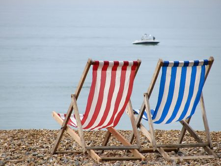 beach chairs: £2 per chair for the day. Stock Photo