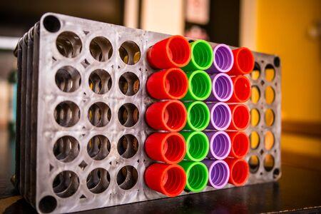 anticoagulant: Close up of vacuum tubes. Stock Photo