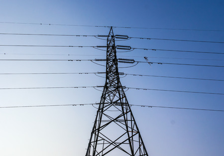 electric power station: Electric power station on blue sky. Stock Photo