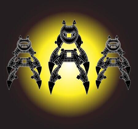 robot with shield: Robot Cartoon animations vector,set9 Illustration