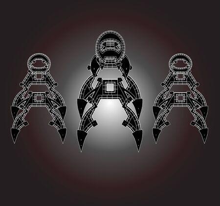 robot with shield: Robot Cartoon animations vector,set10