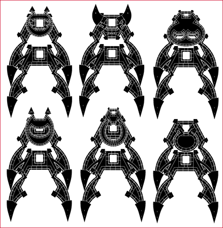 Black and White Monsters - vector set Vector