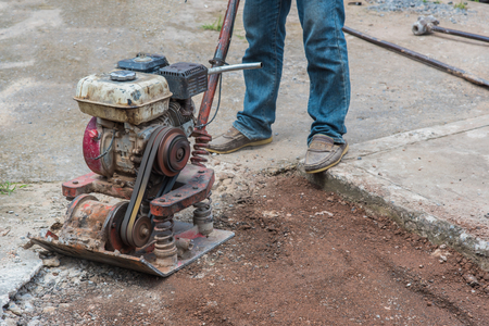 steam roller: Workers on asphalting and repair of city streets