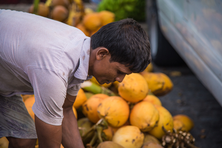 Male, Maldives - June 8, 2017: Area of fresh fruit market - Market situated on the harbor of Male on June 8, 2017 in Male, Maldives