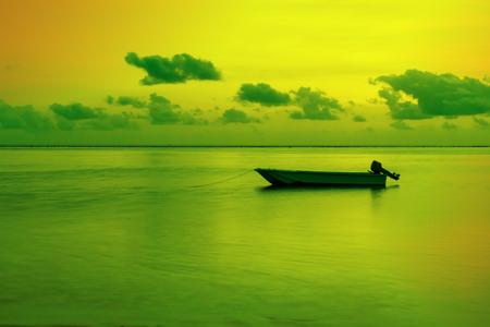 Motion blur landscape of  fisherman and sea in the morning at Maafushi island,Maldives