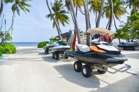 Jet ski on the beach at Maafushi island,Maldives Stok Fotoğraf