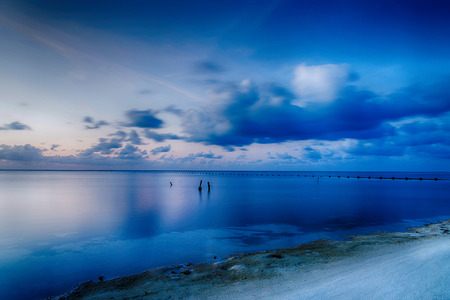 Motion of Blue sea and sky with clouds in Maldives