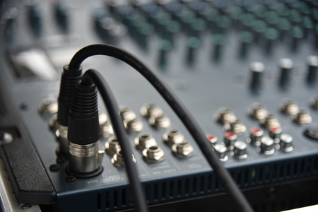 Music mixer equalizer console for mixer control sound device. Sound technician audio mixer equalizer control.Sound Mastering For Radio and TV Broadcast. Stock Photo