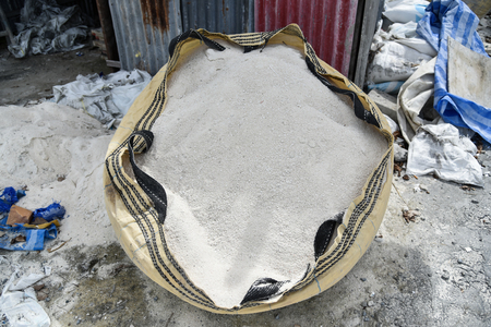 Sand in bag at construction site,Construction Materials