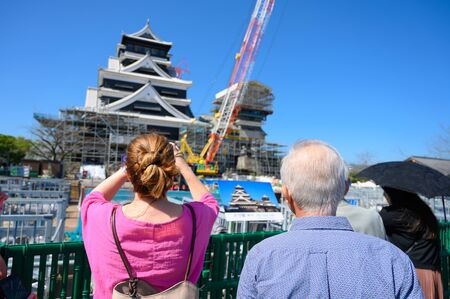KUMAMOTO, JAPAN - 14 October 2019 : tourists visit Kumamoto castle under construction after earthquake taken November 17, 2019 in Kumamoto.