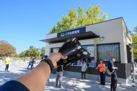 KUMAMOTO, JAPAN - 14 October 2019 : Ticket store and ticket format into the castle in kumamoto castle. Redactioneel
