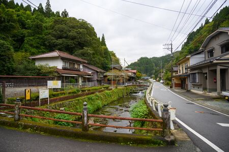 KUMAMOTO, JAPAN - 13 October 2019 : Around Kurokawa Onsen hot spring towns, Ryokan and bridge, at Kyushu, Japan.