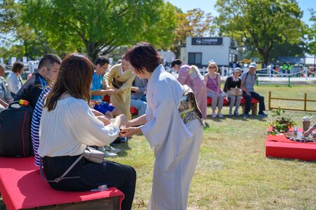 KUMAMOTO, JAPAN - 14 October 2019 : Annual festival in kumamoto castle.Demonstrate Japanese tea making methods.