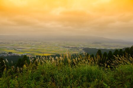 Spacious rural scenery on top of the mountain in Aso Japan.Viewpoint of Aso in japan.