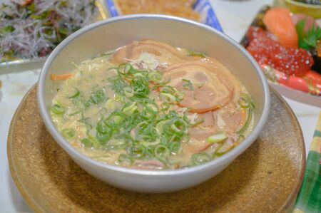 Delicious ramen in Japan.Nabeyaki udon, japanese hot pot noodles