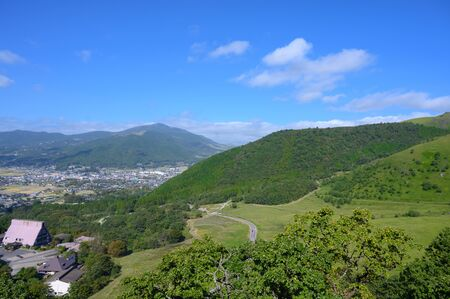 Spacious rural scenery on top of the mountain in Yufuin city.Viewpoint of Yufuin in japan.