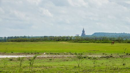 Landscape view of Wat Phu Khao temple lamdmark in Kalasin, Thailand. Stockfoto