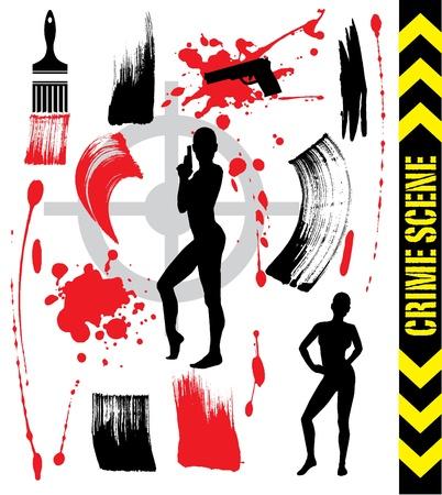 paint gun: crime scene and brush strokes Illustration