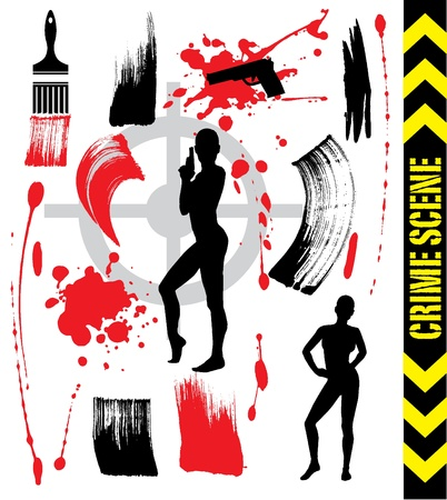 crime scene: crime scene and brush strokes Illustration