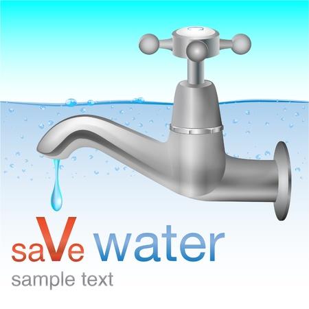 ahorrar agua: guardar el concepto de agua Vectores