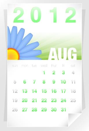 august calendar: 2012 Floral agosto Calendario