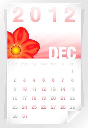 2012 Floral December Calendar Stock Vector - 10461621