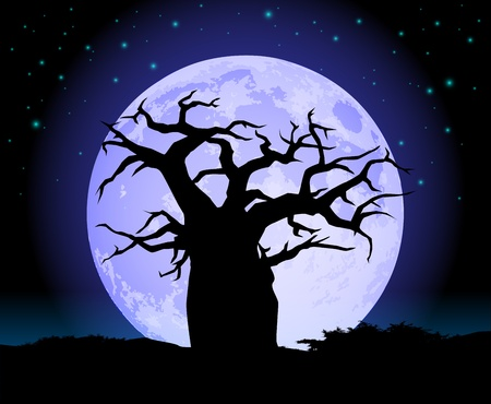 Baobab Tree with moon silhouette Vector