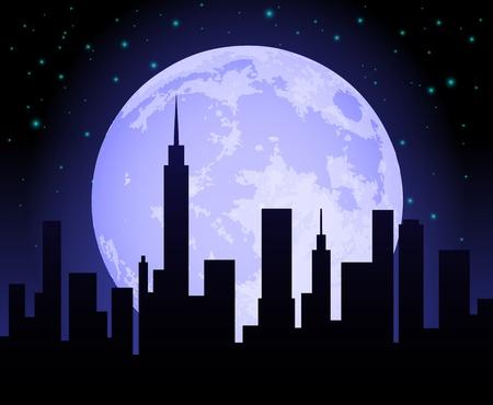 City Skyline at Night Stock Vector - 10461680