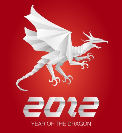 2012 Year of the Dragon - origami red Stock Vector - 10461636
