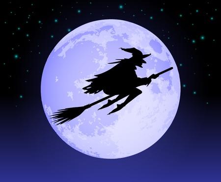bruja: Bruja volando pasado la Luna