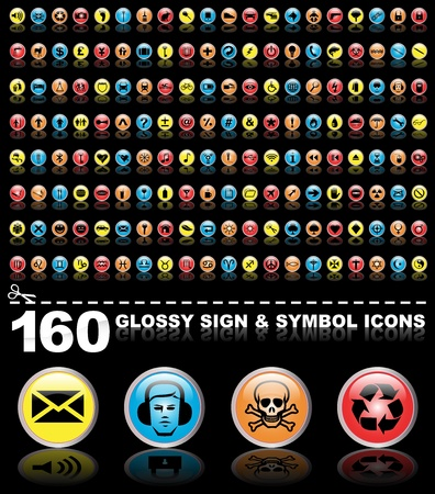 160 glossy sign and symbol icons