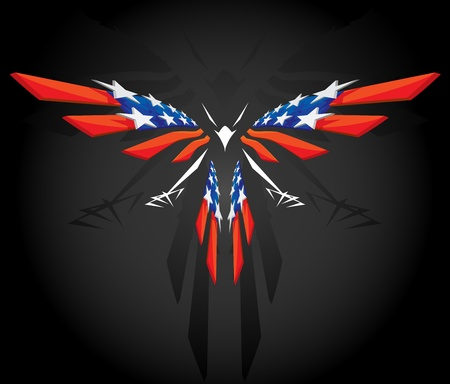 eagle feather: Abstract flying American flag