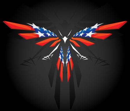 aguila calva: Abstracto bandera estadounidense volador Vectores