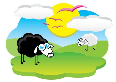 Happy black sheep Vector