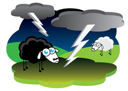 Black sheep with lightning storm Stock Vector - 10461696