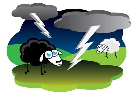 zwart schaap: Zwart schaap met onweer Stock Illustratie