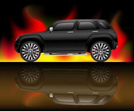 Black sports utility vehicle Vector