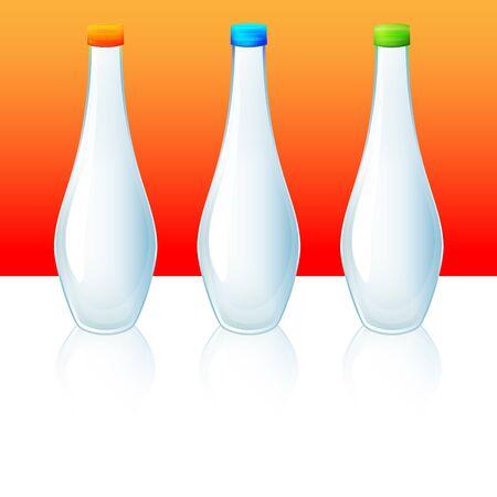 agua purificada: Las botellas de agua Vectores