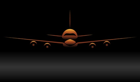boeing: Gold airplane silhouette