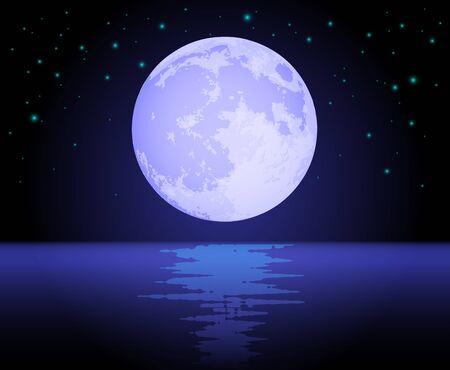 Moon Reflecting Over the Ocean Stock Vector - 10461729