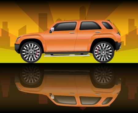 flashy: Orange sports utility vehicle