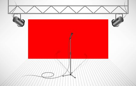 Studio with isolated microphone Illustration