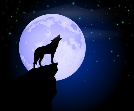 늑대: 늑대 울부 짖는 일러스트