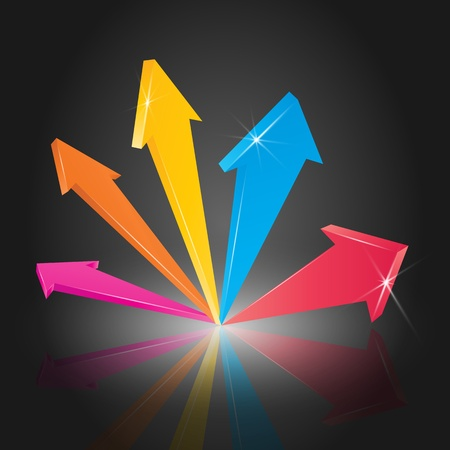Colorful 3D arrow pointing up