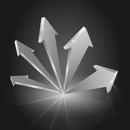 Metallic 3D arrows pointing up (EPS10 - Gradient, Transparency) Vector