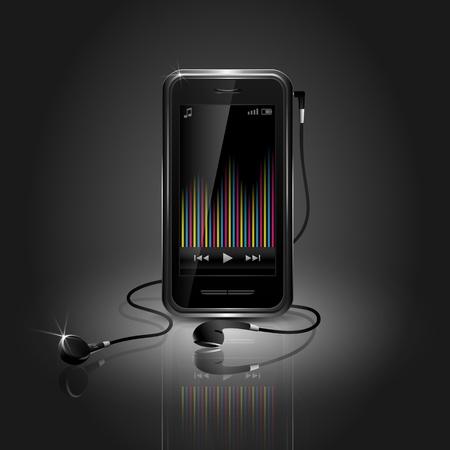mobile headset: Elegante tel�fono m�vil reproducci�n de m�sica con ecualizador y auriculares